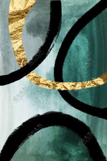 新中式墨绿色金箔泼墨装饰画