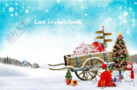 圣诞雪天唯美清新浪漫宣传海报