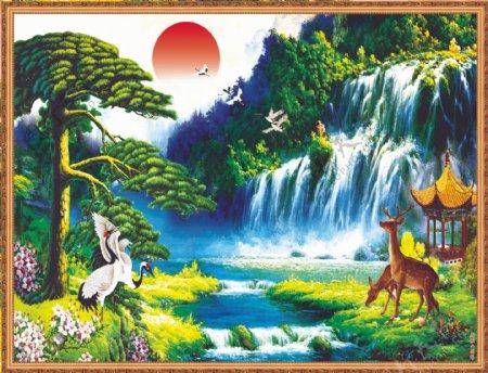 日出东方迎客松瀑布小鹿梅花鹿