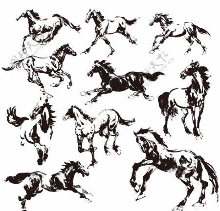 骏马飞奔标识标志图标素材
