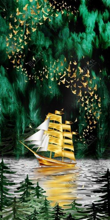 一帆风顺装饰画图片