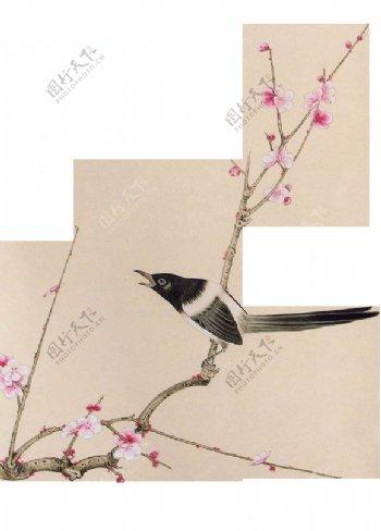 喜鹊桃花png图片