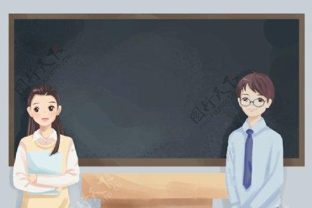 老师课堂自习插画图片
