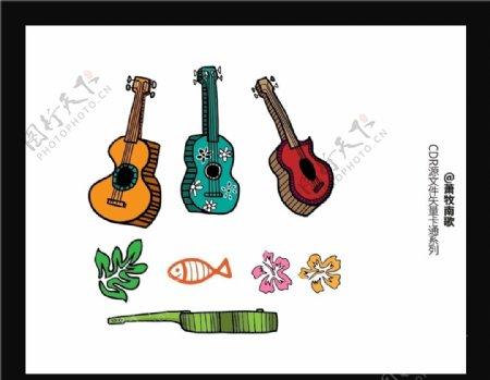 吉他卡通CDR矢量图图片