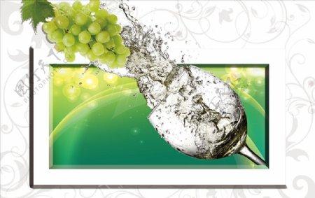 葡萄酒杯背景墙图片