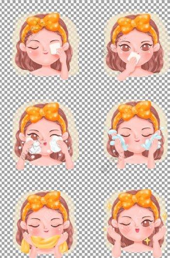 女生清新护肤卸妆面部清洁步骤图片