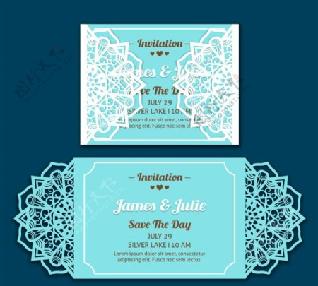 蕾丝花边婚礼邀请卡图片