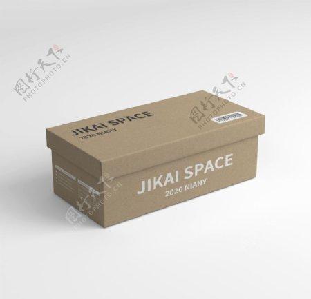 牛皮纸包装盒鞋盒天地盒样机图片