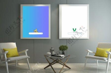 客厅背景墙画框样机场景桌椅组图片