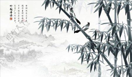 水墨画竹子背景墙图片