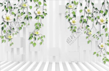 浮雕花花藤竖条背景墙图片