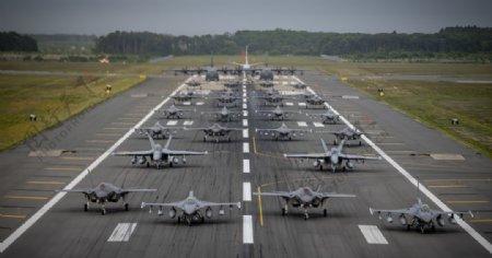 飞机战斗机跑道机场背景图片