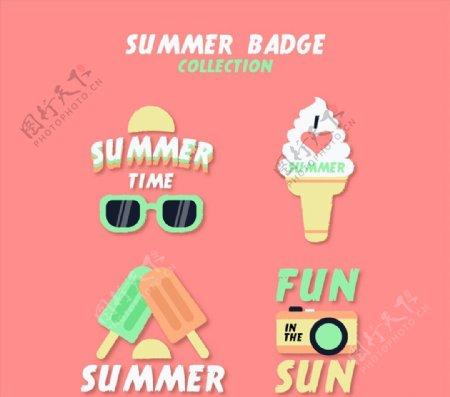 精致夏季元素徽章图片