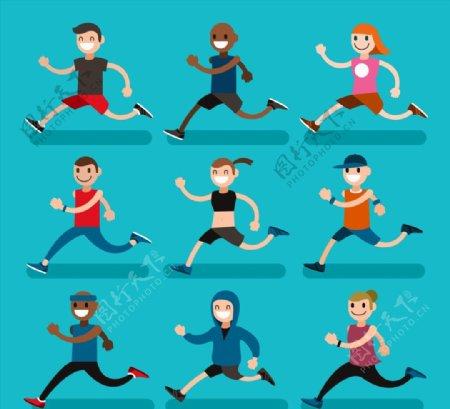 卡通笑脸跑步人物图片