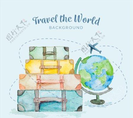 旅行箱和地球仪图片