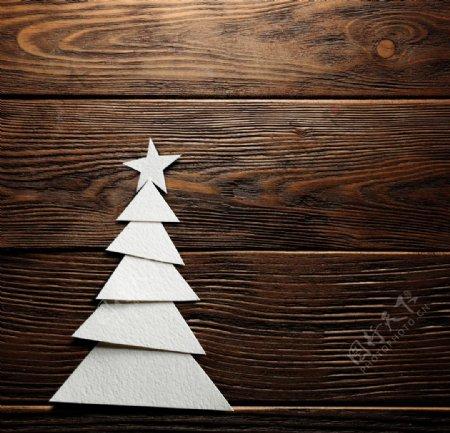圣诞树木板纹理背景海报素材图片