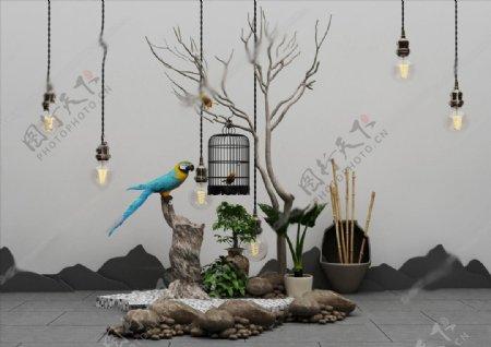 新中式植物盆栽吊灯摆件组合图片