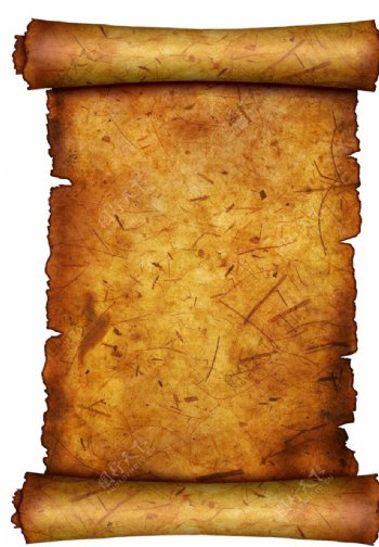 牛皮纸卷轴复古海报素材图片