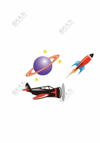 地球仪火箭飞机图片