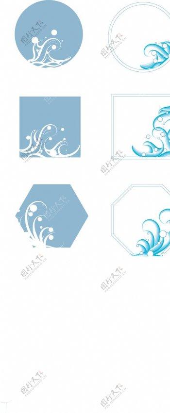 蓝色海浪AI矢量图底边花纹背景图片
