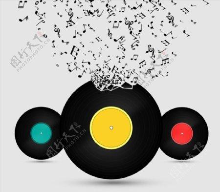 音符与黑胶光碟图片