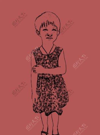 小孩子素描开心人物图片