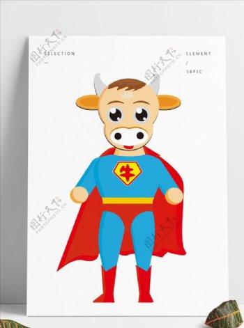 卡通超人牛图片