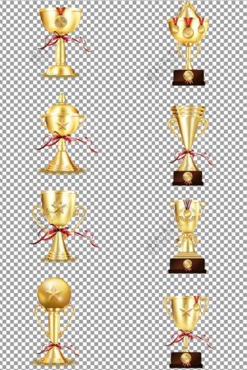金色渐变立体奖杯图片