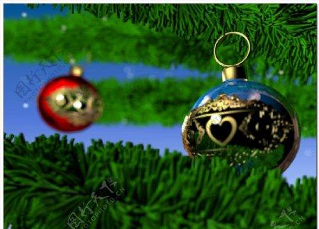 圣诞树装饰精美圣诞球