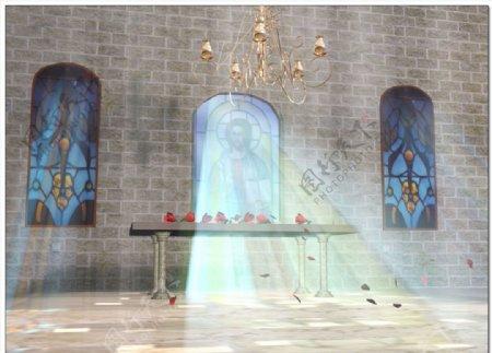 婚礼教堂散落玫瑰花瓣视频
