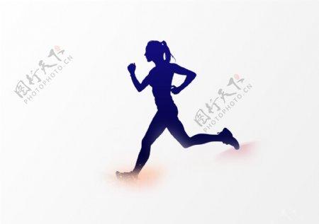 跑步的女生剪纸图片