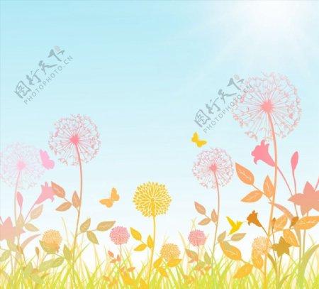 蒲公英花丛矢量图片