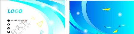 蓝色线条简约商务名片图片