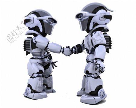 机器人握手图片
