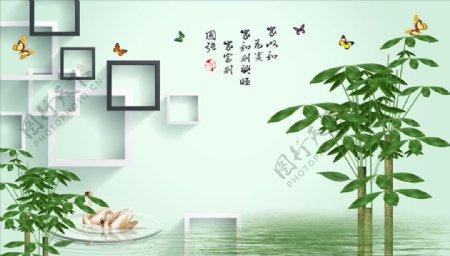 发财树蝴蝶框框天鹅背景墙图片