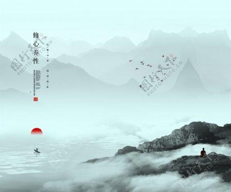 禅意中国风水墨山水画图片
