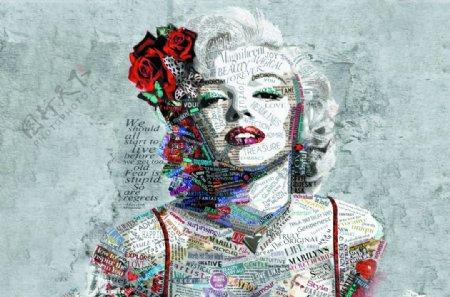 文字组合彩色人像抽象艺术装饰图图片