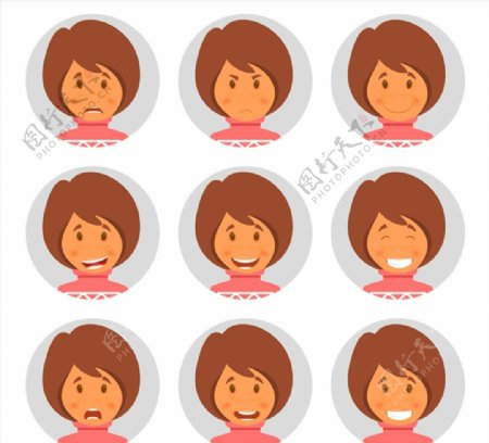 短发女子表情头像图片