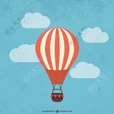卡通条纹热气球图片