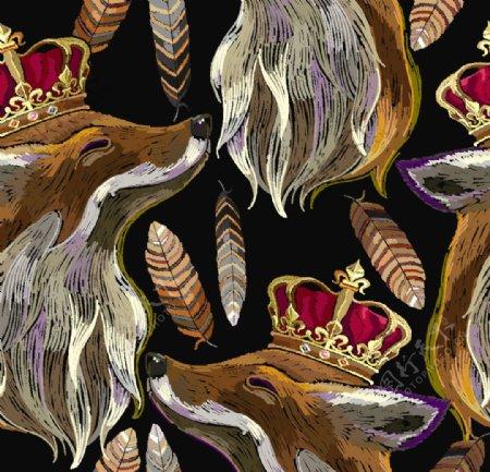 狐狸绣花图片