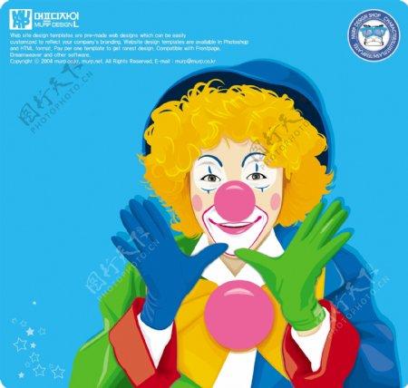 可爱的小丑矢量图片
