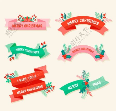 圣诞节丝带横幅标签图片
