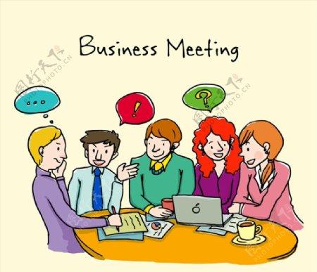 商务会议漫画人物图片