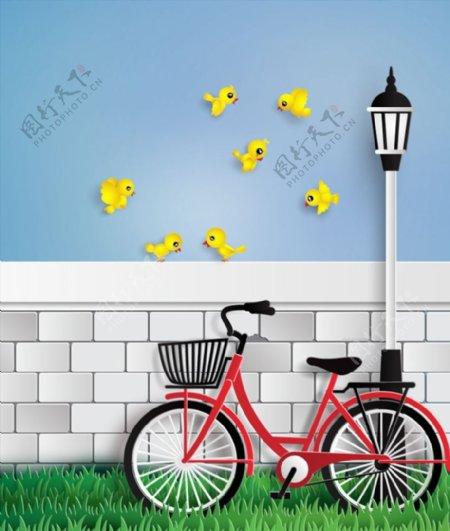 单车和黄色小鸟图片