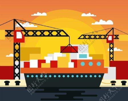 AI港口矢量素材图片