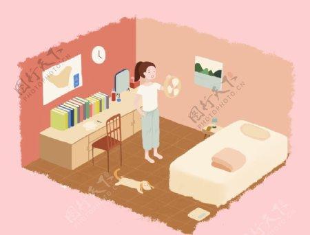 夏天在室内吹空调的小女孩图片