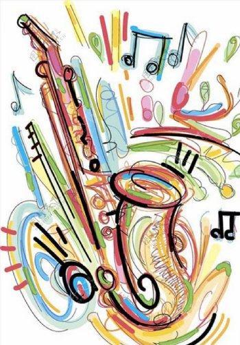 手绘涂鸦彩色乐器图片