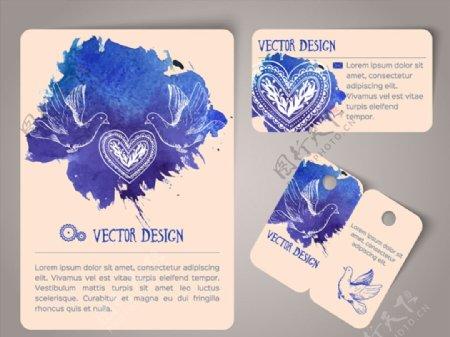水彩鸽子卡片矢量图片