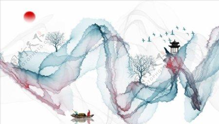 水墨画小船飘带背景墙图片