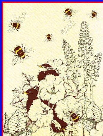 水彩蜜蜂蝴蝶花图片